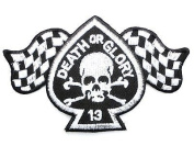 DEATH OR GLORY Skull Rockabilly Cafe Racer Biker Iron On Embroidered PatchApprox