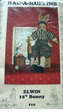 ELWIN - 30cm BUNNY DOLL WITH WOOD BAT - RAG-A-MUFFINS SEWING PATTERN #10