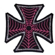 Novelty Iron On Patch - Creepy Zombie Dead Iron Cross Pink Spiderweb Web Applique