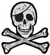 Skull Cross Bones Pirate Sew-on Iron-on Patches Embroidered Applique Badge