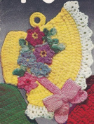 Vintage Crochet PATTERN to make - Pot Holder Fancy Easter Bonnet. NOT a finished item. This is a pattern and/or instructions to make the item only.