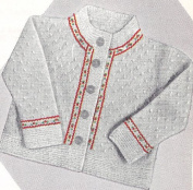 Vintage Knitting PATTERN to make - Baby Cardigan Sweater Coat Ribbon Trim. NOT a finished item. This is a pattern and/or instructions to make the item only.