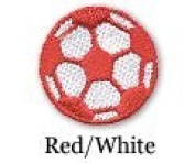 Soccer Ball Iron on Patch Red/White 10-Pack