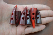 6 Pieces RED Horn Toggle Sewing 2 Hole Buttons Craft
