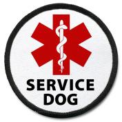 Medical Alert SERVICE DOG Black Rim Symbol 10cm Sew-on Patch