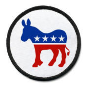 DEMOCRAT Party Donkey Stars and Stripes 10cm Black Rim Sew-on Patch