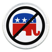 NO REPUBLICAN Elephant Democrat Stars and Stripes 10cm Sew-on Patch