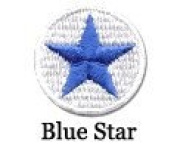 Iron on Star Patch Blue/White 10-Pack
