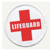 LIFEGUARD Cross Red Pool Safety Alert 10cm Sew-on Patch