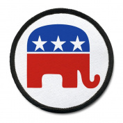 REPUBLICAN Party Elephant GOP Stars and Stripes 10cm Black Rim Sew-on Patch