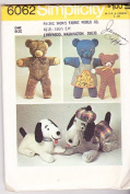 Simplicity 6062 Vintage Crafts Sewing Pattern Stuffed Bears Dogs
