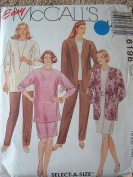 WOMENS UNLINED JACKET, TUNIC OR TOP, SKIRT & PANTS SIZE 42-44-46 EASY MCCALLS SEWING PATTERN - SELECT A SIZE - #6196 RATED EASY