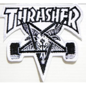 THRASHER SKATEBOARD Skate Goat Logo Sew Embroidered Iron On Patch Great gift For men and woman by KLB TRADE Badge Logo