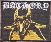7.6cm X 6.4cm BATHORY Demonic Goat Heavy Metal Rock Punk Music Band Logo Polo T shirt Patch Sew Iron on Embroidered Sign Badge music patch by Tourlesjours