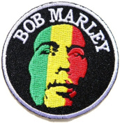 7.6cm x 7.6cm BOB MARLEY Reggae Ska Rasta T shirt Patch Sew Iron on Embroidered music patch by Tourlesjours