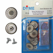 20mm Ovals Matte Silver Jean Tack Buttons Kit, 6 Set with Tool