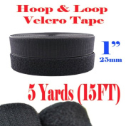 2.5cm Width By 5 Yards (15 Ft) Black Sew on Hook & Loop - Black Premium Grade Non-adhesive Sew-on Style Sold Includes Hook and Loop Both Side