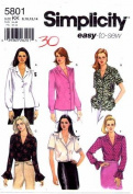 Simplicity 5801 Sewing Pattern Misses Blouse with Sleeve Variations Size 8 - 14 - Bust 31 1/2 - 36