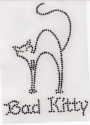 Bad Kitty Iron On Hot Fix Rhinestone Transfer -- Black