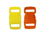 Mix of 50 Yellow & Orange 1cm Buckles (25 Yellow/25 Orange) , Contoured Side-release. Perfect for Paracord Bracelets.