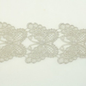 Silver Metallic Lace trim by the yard - Bridal wedding Lace Trim embroidery trim wedding fabric Millinery accent motif scrapbooking crafts lace for baby headband hair accessories dress bridal accessories by Annielov trim #125