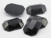 25x18mm Jet Black A11 Flat Back Octagon Acrylic Jewels High Quality Pro Grade - 18 Pieces