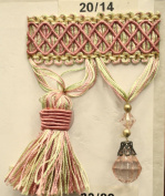 Beaded Tassel Fringe Trim 8.9cm Style# Bf 4027 20/14 Pink/light Green Colour, Sold By the Yard
