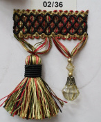 Beaded Tassel Fringe Trim 8.9cm Style# Bf 4027 02/36 Black/green/red Colour, Sold By the Yard