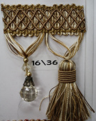 Beaded Tassel Fringe Trim 8.9cm Style# Bf 4027 16/36 Latte/ivory/gold Colour, Sold By the Yard