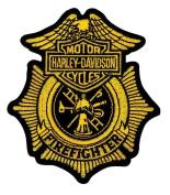 Harley-Davidson Firefighter Gold Patch, Small 7.6cm - 1.3cm W x 10cm H EM1265172