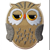 Cute Owl Iron on Patches #Brown