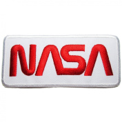 NASA Badge Iron on Patches #White-Red