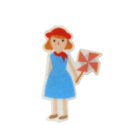 Girl & Origami Windmill DIY Applique Printed Felt Iron on Patch