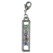 Exselle Zipper Pull with Coloured Rhinestones