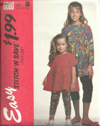 Childrens And Girls Top And Leggings In Two Lengths - For Stretch knits Only Size
