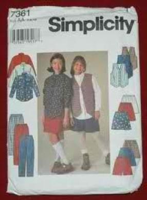 Simplicity 7361 Girls' Shirt, Vest, Skirt, Pants & Shorts Size AA (7, 8, 10)