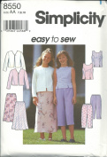 Simplicity 8550AA Sewing Pattern Girls Easy Top Jacket Skirt Pants Size 7-10