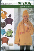 Simplicity Easy-to-sew Loose Fitting Pullover Top, Ponchos, Scarf and Hat Pattern # 4782,size Bb L, Xl