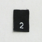 Size 2 (Two) Black Woven Clothing Size Labels