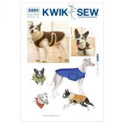 Kwik Sew K3260 Dog Coats Sewing Pattern, Bandana and Party Collar