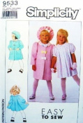 SIMPLICITY Sewing Pattern 9533 ~ EASY-TO-SEW LITTLE GIRL'S DRESS, LINED COAT & HAT