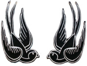 Black Tattoo Sparrow Swallow Emo Punk Embroidered iron on Motorcycle Biker Patch BIG