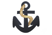 ID #5074 Navy Blue Nautical Anchor Embroidered Iron On Applique Patch