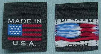 100 pcs WOVEN CLOTHING LABELS BLACK MADE IN U.S.A. AMERICAN FLAG