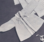 Vintage Knitting PATTERN to make - Baby Smocking Sacque Hat Set. NOT a finished item. This is a pattern and/or instructions to make the item only.