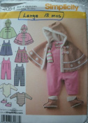 BABIES' JUMPER OR ROMPER, PONCHO, BOOTIES AND KNIT BODYSUIT SIZE XXS-XS-S-M-L 7-24 POUNDS SIMPLICITY PATTERN 4054