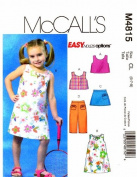 Girls Reversible Top Dress Skort Capri Pants McCall's 4815 Sewing Pattern Size 6 - 7 - 8