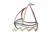ID #5072 Large Multicolor Sail Boat Outline Embroidered Iron On Applique Patch