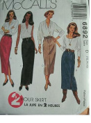 MISSES SKIRTS IN TWO LENGTHS SIZE 12-14-16 EASY MCCALLS 2 HOUR SKIRT PATTERN 6892