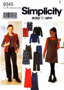 Simplicity 9345 Girls Jacket Vest Boot Leg Pants Jumper Sewing Pattern Size 7 - 8 - 10 - 12 - 14 - 16